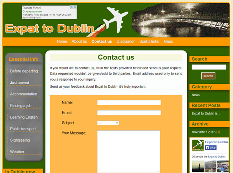 View of the page Contact us
