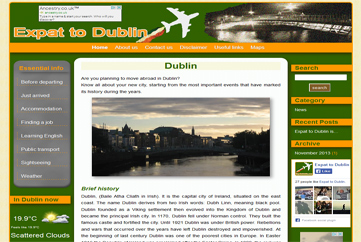 View of Expat to Dublin home page