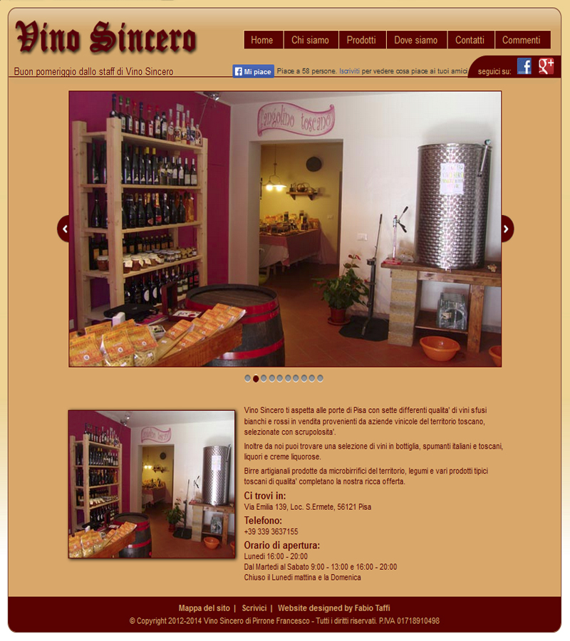 Vino Sincero home page