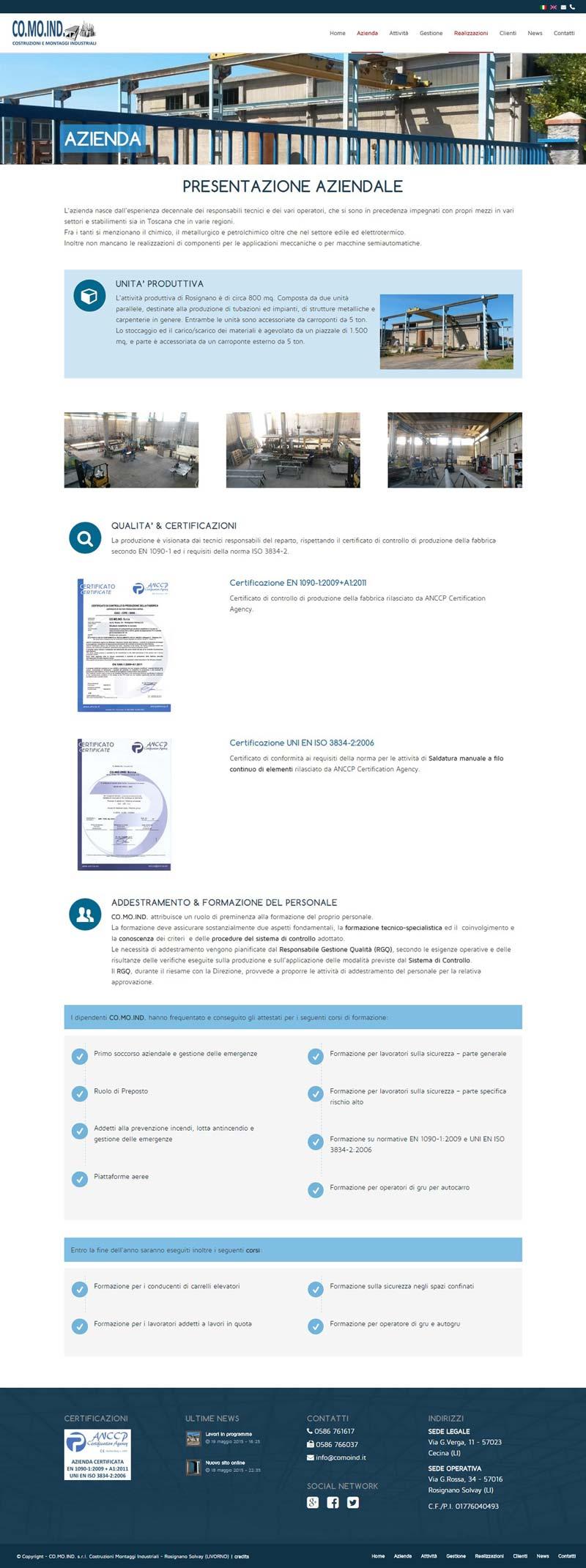Website Comoind page azienda