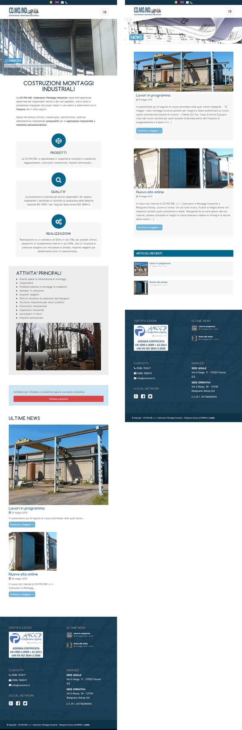 Comoind website pages responsive in mobile view